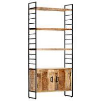 vidaXL 4-poschodová knižnica 80x30x180 cm surový mangovníkový masív
