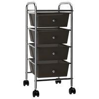 vidaXL Mobilný úložný vozík so 4 zásuvkami čierny plastový