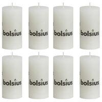 Bolsius Rustikálne valcové sviečky 8 ks 100x50 mm, biele