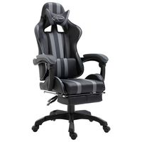 vidaXL Herná stolička s opierkou na nohy, sivá, umelá koža