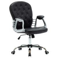 vidaXL Otočná kancelárska stolička čierna umelá koža