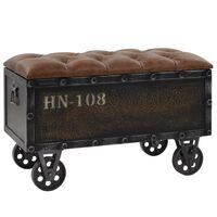 vidaXL Úložná lavica, masívne drevo a umelé koža, 80,5x41x50 cm