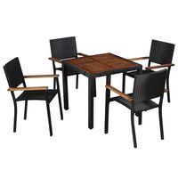 vidaXL 5-dielna vonkajšia jedálenská súprava polyratan a akáciové drevo čierna