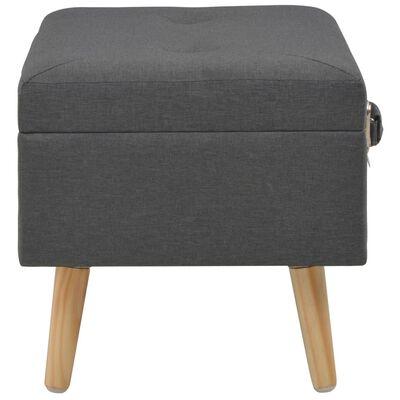 vidaXL Úložné stoličky 3 ks tmavosivé látkové