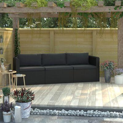 vidaXL 3-dielna záhradná sedacia súprava+podložky, polyratan, čierna
