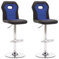 vidaXL Barové stoličky 2 ks, modré, umelá koža