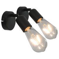 vidaXL Bodové svetlá 2 ks čierne s vláknovými žiarovkami 2 W E27