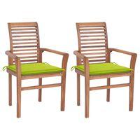 vidaXL Jedálenské stoličky 2 ks bledozelené podložky tíkový masív