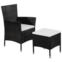vidaXL Vonkajšia stolička a taburetka s podložkami, polyratan, čierne