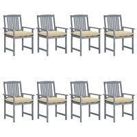 vidaXL Záhradné stoličky s podložkami 8 ks akáciový masív sivé