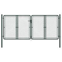 vidaXL Záhradná brána, oceľ 300x125 cm, zelená