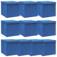 vidaXL Úložné boxy s vrchnákmi 10 ks modré 32x32x32 cm látkové