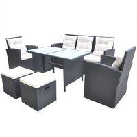 vidaXL 6-dielna záhradná sedacia súprava s vankúšmi polyratan čierna