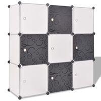 vidaXL Úložná skrinka v tvare kocky s 9 priečinkami, čierna a biela