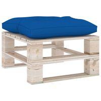 vidaXL Záhradná taburetka z paliet, kráľovsky modrá podložka, borovica