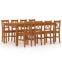 vidaXL 9-dielna jedálenská súprava, borovicové drevo, medovo hnedá