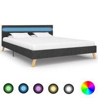 vidaXL Rám postele s LED svetlom tmavosivý 140x200 cm látkový