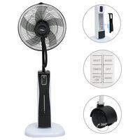 vidaXL Stojanový ventilátor s výrobou hmly a s diaľkovým ovládaním čierno-biely
